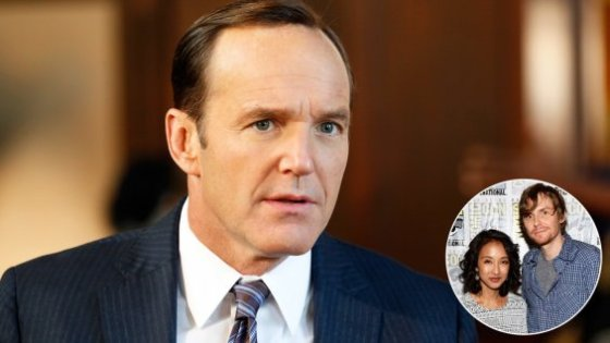 Clark Gregg with Jed Whedon and Maurissa Tancharoen (inset)