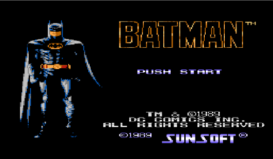 "START menu for the NES title ""Batman"""