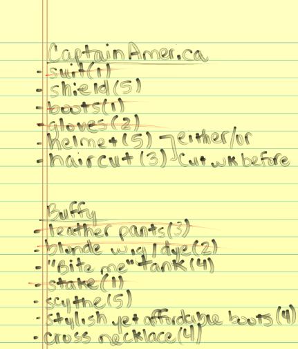 Costume Checklist