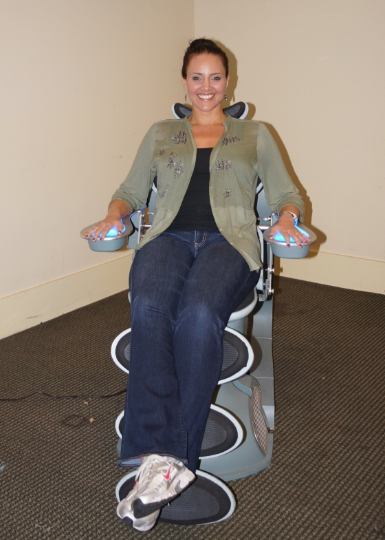 Miracle Laurie (Dollhouse) happy to be in the screen-used imprint chair