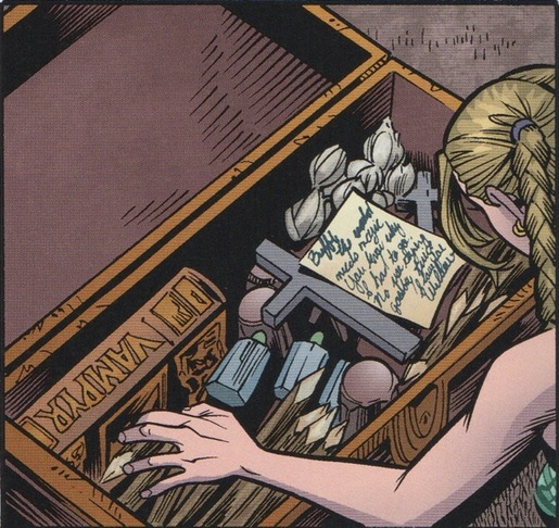 The contents of Buffy's weapons chest: NOT how to kill a vampire.
