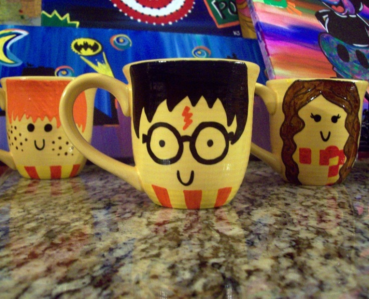 "Harry Potter, Ron Weasley, Hermoine Granger mugs by Season of the Geek""got a nerdy mind?"" on back"
