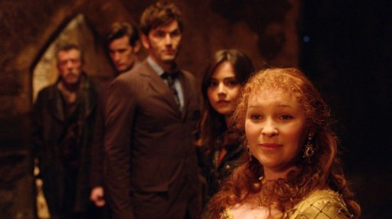 (from left): The War Doctor, The Eleventh Doctor, the Tenth Doctor, Companion Clara Oswin Oswald, and Queen Elizabeth I.