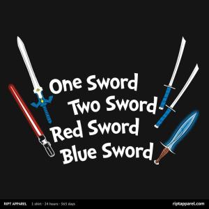 One Sword, Two Sword, Red Sword, Blue Sword at riptapparel.com