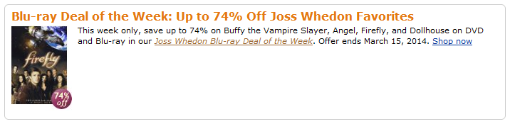 Joss Whedon Blu-ray Deal of the Week